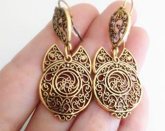 Portuguese filigree earrings 4,3 cm, 1 Pair of bronze earrings, heart flower findings, Viana Heart earrings, portugal, traditional earrings