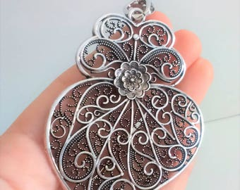 1x Filigree pendant silver portuguese 7.7 cm charm heart flower findings supplies, portuguese jewelry, viana's heart, pendant from Portugal