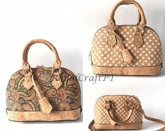 Cork handbag for women, cork bag, vegan bag, natural materials, eco friendly bag, leather bag, shoulder cork bag simple natural cork leather
