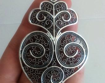 Filigree pendant silver portuguese 8,0 cm charm heart flower findings supplies, filgree pendant, fligree pendant, traditional viana's heart