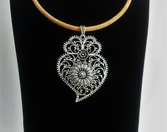 Portuguese necklace, viana's heart necklace, silver portuguese filigree, cork necklace with filigree pendant, portuguese jewelry