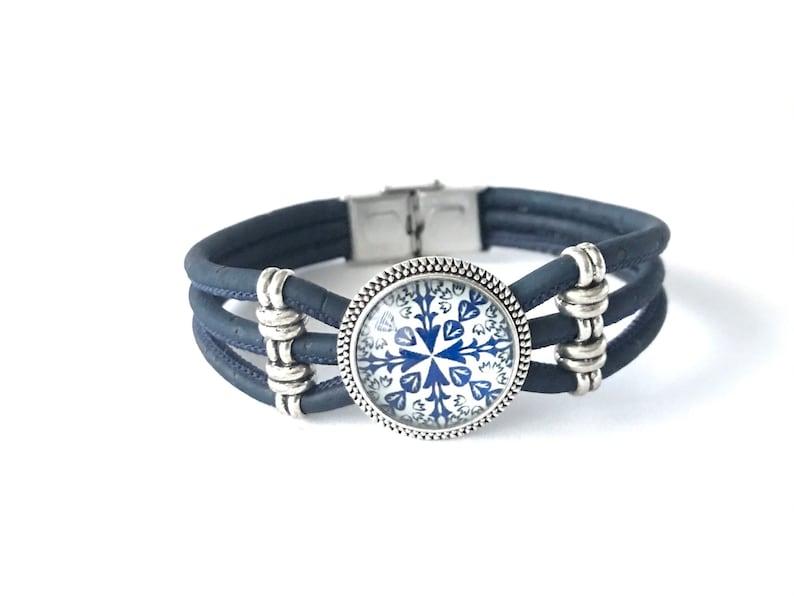 Portugal Glass tile pendant bracelet kaleidoscope bracelet portuguese tile like jewelry talavera jewelry azulejo and cork mandala