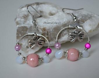 Creole earrings shade of pink,