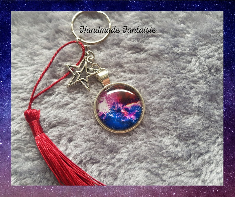 Galaxy and pompom keyrings