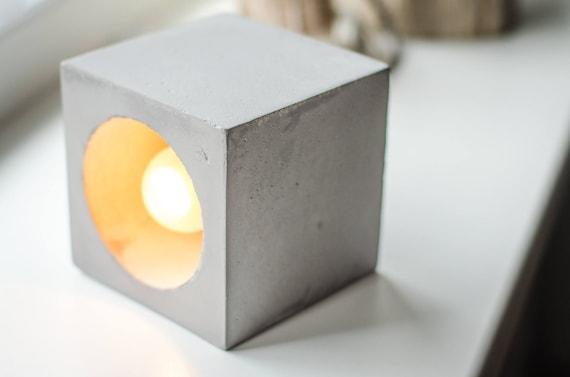 Beton Lampe lampe variateur béton q 210 fait à la main. lampe béton. | etsy
