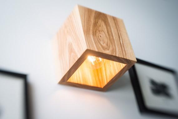 Wood Lamp Q 374 Handmade Wall Lamp Wooden Lamp Sconce Wall Light Minimalist Lamp Interior Decoration Wood Decor Cube Wood Sconce