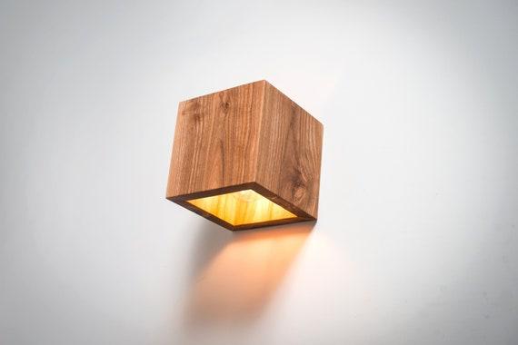 Houten lamp q handgemaakte muur lamp houten lamp etsy