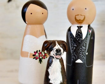 Muñecos Tarta Boda Personalizados con  Perro o Gato, Figuras Madera Tarta Nupcial Pintados a Mano con Mascota, Novios Personalizados Tarta.
