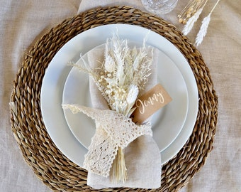 6 pc Dried Flowers Napkin Decor, Wedding Place Settings Flowers, Dried Flowers Events Decor, White Flowers Bunch for Table, Favor Guests.