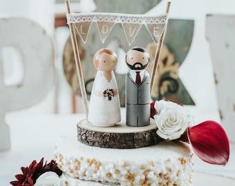 Custom Wedding Cake Topper Peg Dolls, Rustic Wedding Cake Topper, Bunting and Woodslice Bride and Groom, Minime Cake Topper, Barn Country.