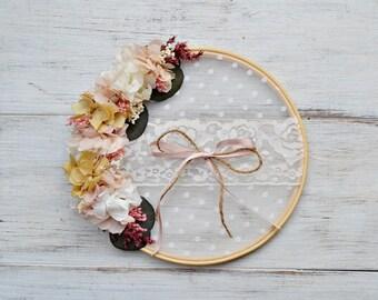 Alternative Ring Bearer Hook Preserved Flowers, Ring Bearer, Wedding Embroidery Frame Ring Bearer, Ring Pillow Pink and Natural Color