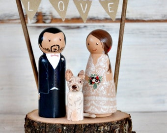 Rustic Wedding Cake Topper Dog on Stand,  Personalized Cake Topper Figurines Pet, Peg Doll Dog or Cat.