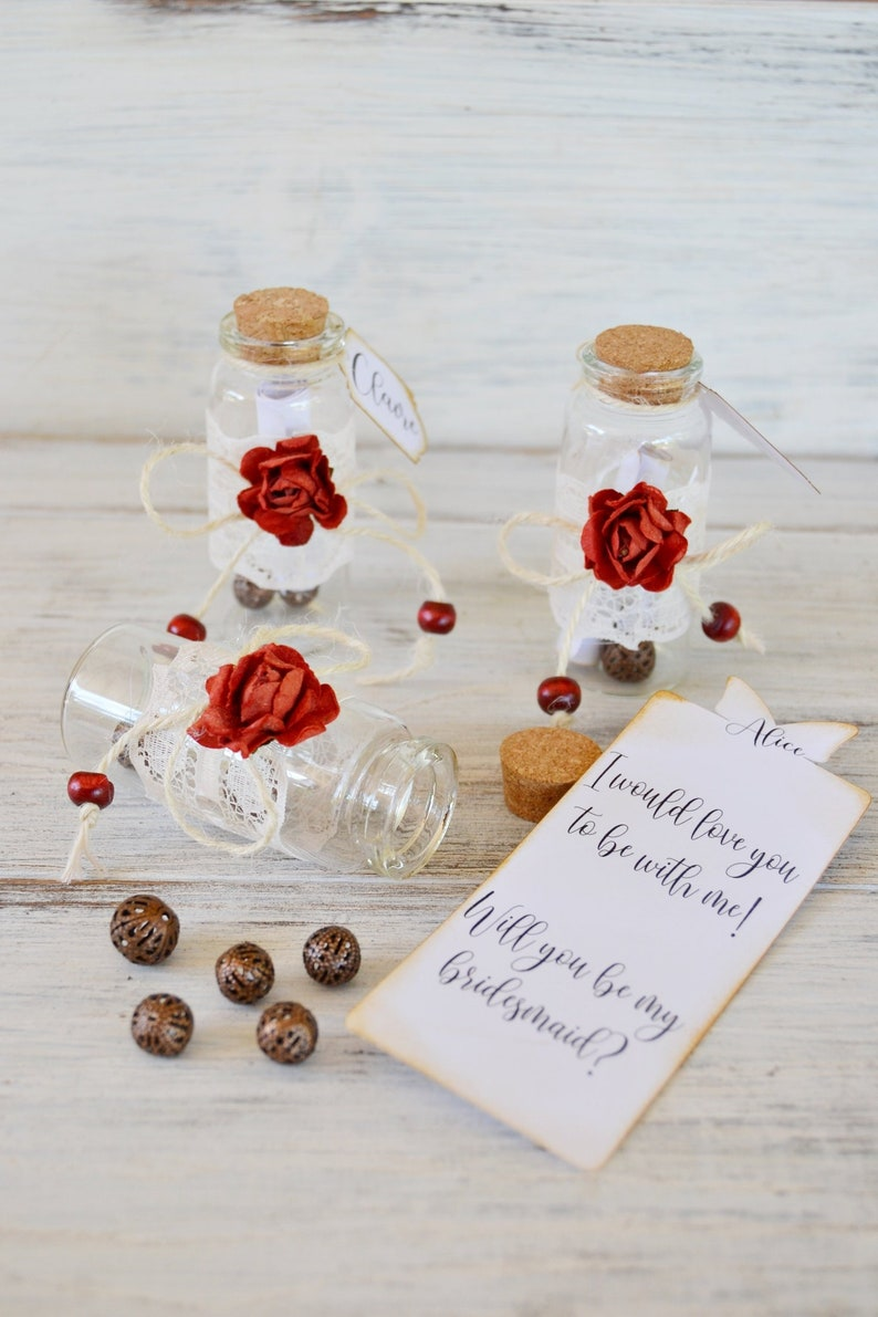 Flower Girl Proposal. Message in a Bottle Will you be my Bridesmaid Personalized Mini Bottle Bridesmaid Gift