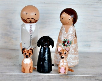 Wedding Cake Topper With  Dog, Personalized Cake Topper With Cat, Wooden Peg Doll  Handpainted, Anniversary Gift, Bride Groom Cat Dog.