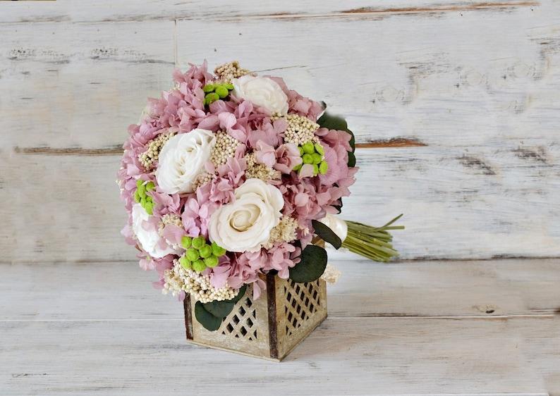 Hydrangea Bouquet. Rose Bridal Bouquet  Preserved Flowers Natural Bouquet Preserved /& Dried Flowers Pink White Green Bride Bouquet