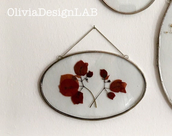4 x 6 Oval glass frame, floating frame, oval frames, dried flowers frame, picture frames, copper frame, handmade frame.