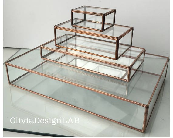 8 x 10 glass box display, large size glass box, jewelry display case, glass display, jewelry ring storage trays and jewelry box.