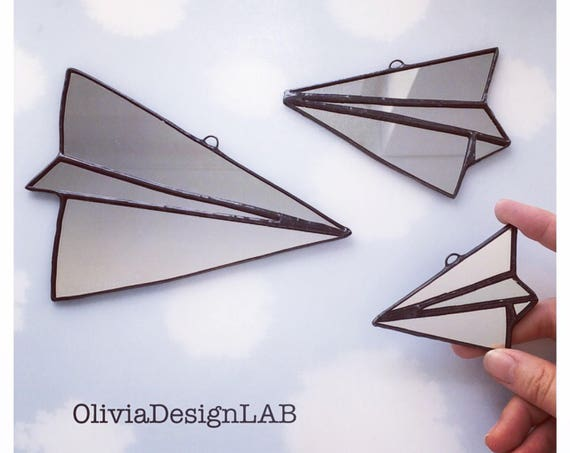 Paper plane made by mirror, cute decor, handmade mirror, geometric home decor, mirror and velvet.