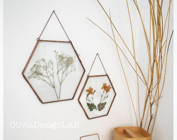 Hexagonal frame, geometric floating frame, 3 sizes, buy set of 3, dried flowers display, wedding display, menu glass frame.
