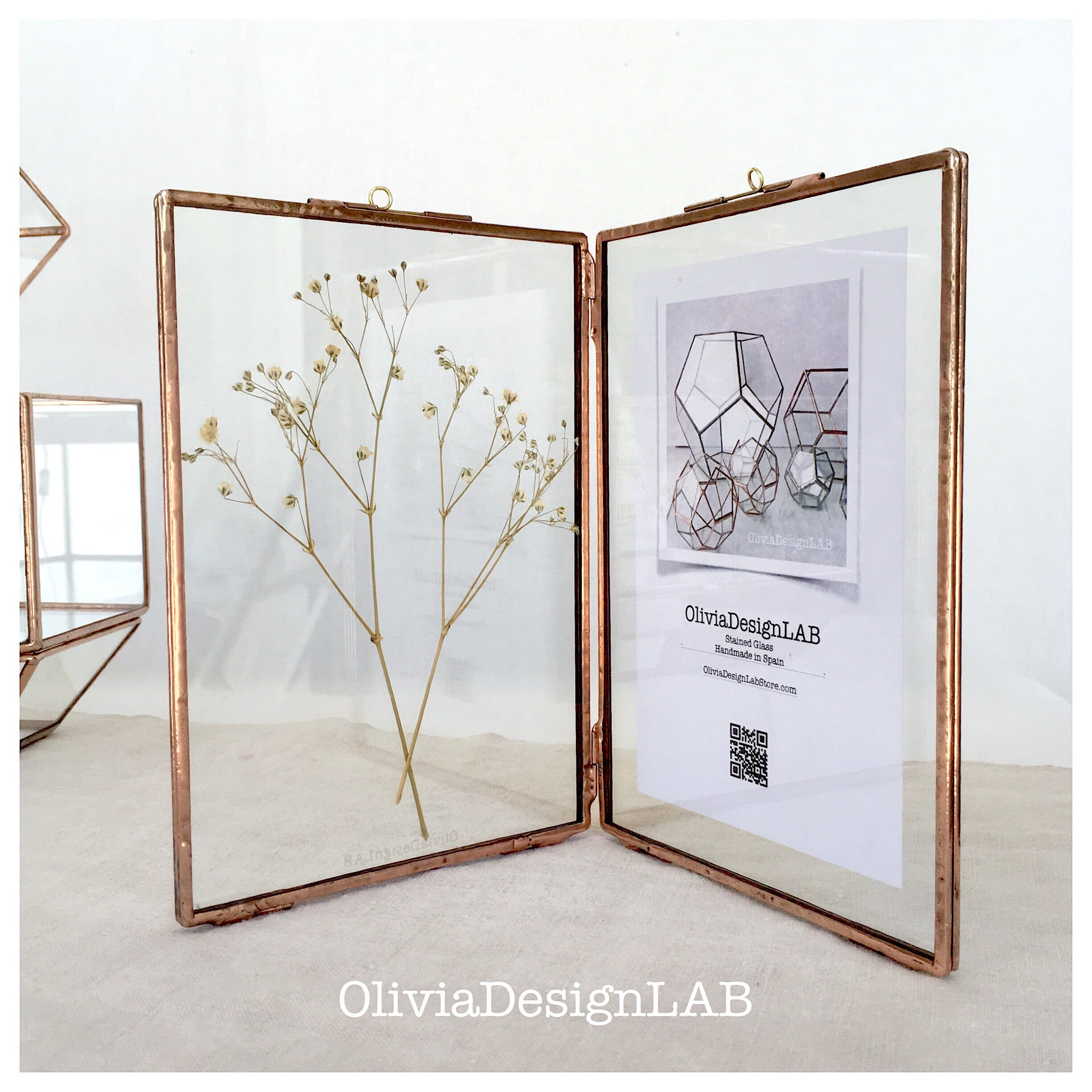 Diptych glass frame 7 x 5 inches each frame. Double frame, handmade ...