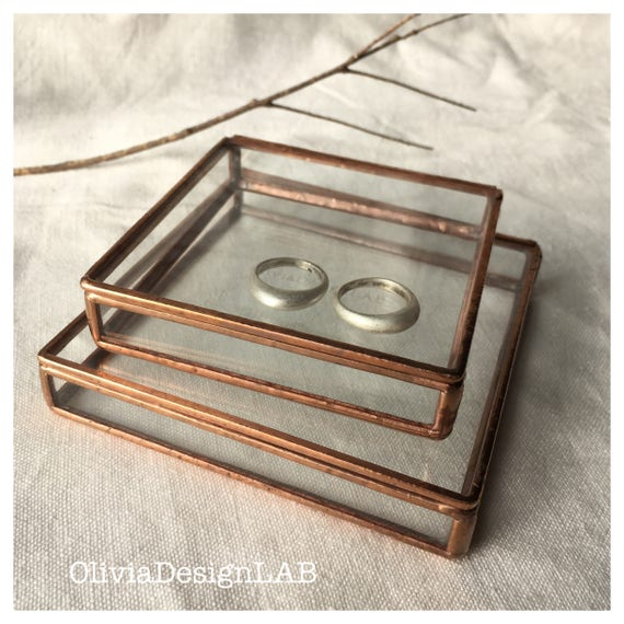 Small glass box 3x3 and 4x4 inches, lid with chain, bridesmaid gift, glass display home decor object, ring storage trays and jewellery box.