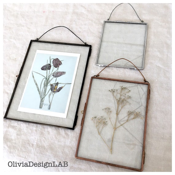 5 x 7 Glass floating frames, made to measure rectangular glass frames, dried flowers frame, picture frames, copper frame, handmade frame.
