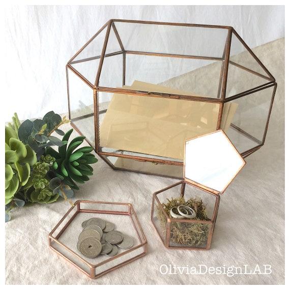 Wedding set of 3 : card box + ring box + glass tray. Conservatory Envelope Holder, wedding money box, letters holder, large terrarium.