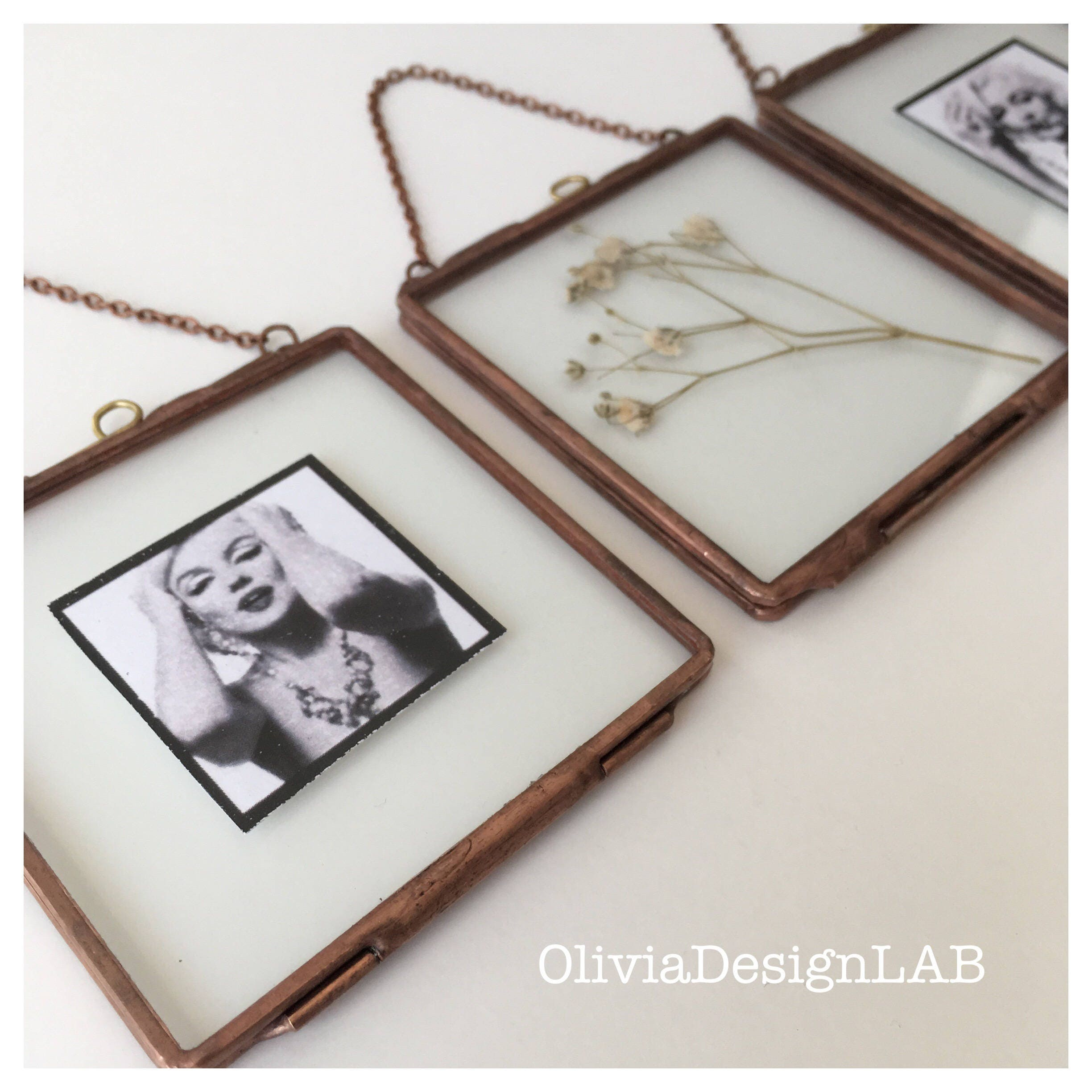3 x 3 Glass frames, wedding favors, little glass frame with closures ...