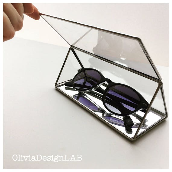 Glasses case, triangular glass box, sunglasses case, glass box, display case, jewellery display.