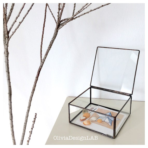"6 x 6"" glass box, instagram images, travel souvenir, father day gift, photo glass display, jewelry ring storage tray jewelry box."