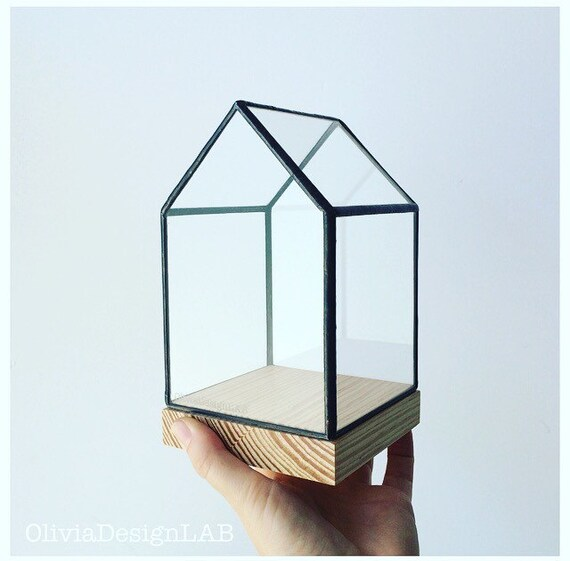 Small glass house showcase natural wood base - bespoke handmade glass box - geometric home decor - quartz holder jewelry display.
