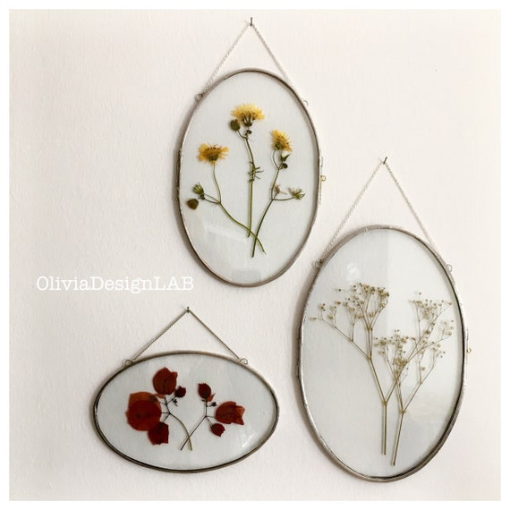 Set of 3 Oval frames, floating glass frame, oval frames, dried flowers frame, picture frames, copper frame.