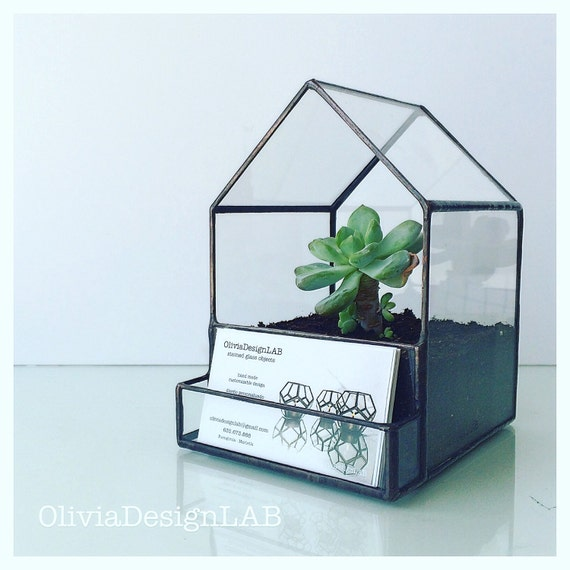 Business card holder terrarium, green house succulents indoor garden, geometric glass terrarium.