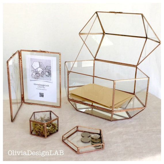 Wedding set of 4 : card box + double frame + ring box + glass tray. Conservatory Envelope Holder, wedding money box, letters holder.