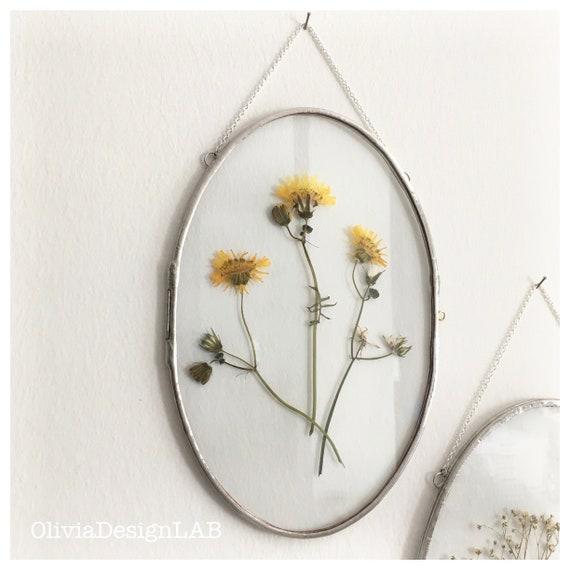 6 x 9 Oval glass frame, floating frame, oval frames, dried flowers frame, picture frames, copper frame, handmade frame.