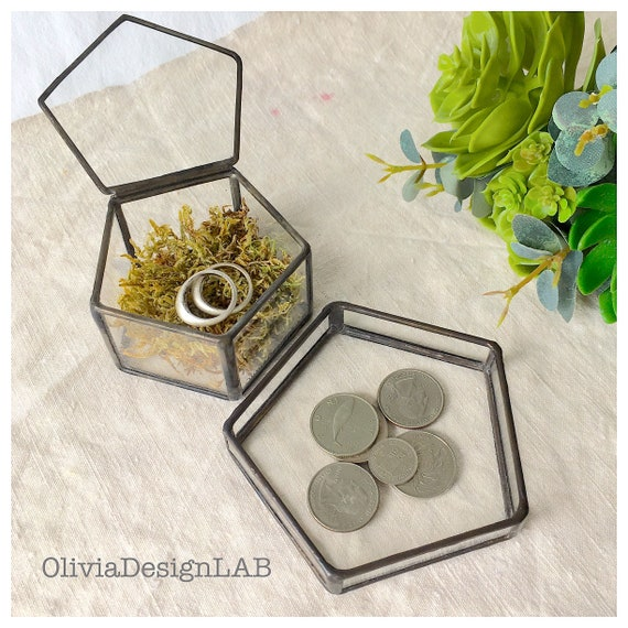 Wedding ring box + tray, engagement ring box, ring pillow, geometric glass box with lid, ring bearer box, wedding gift, glass box.