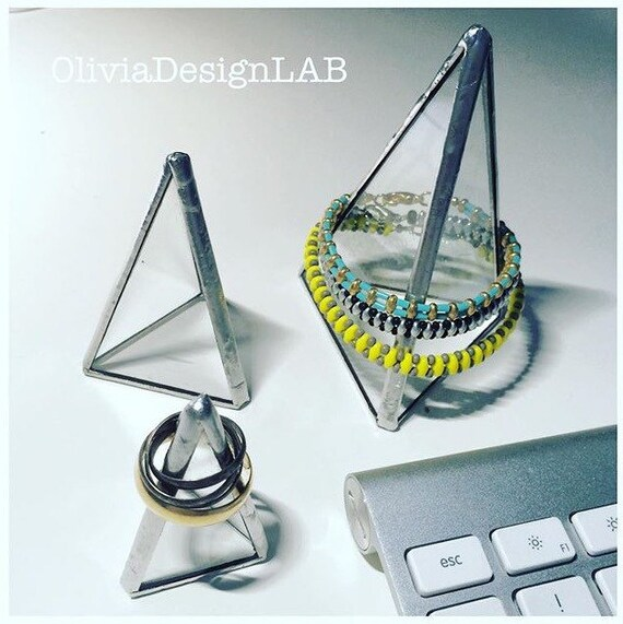 Pyramid jewellery display, silver glass jewelry storage, handmade customizable measures
