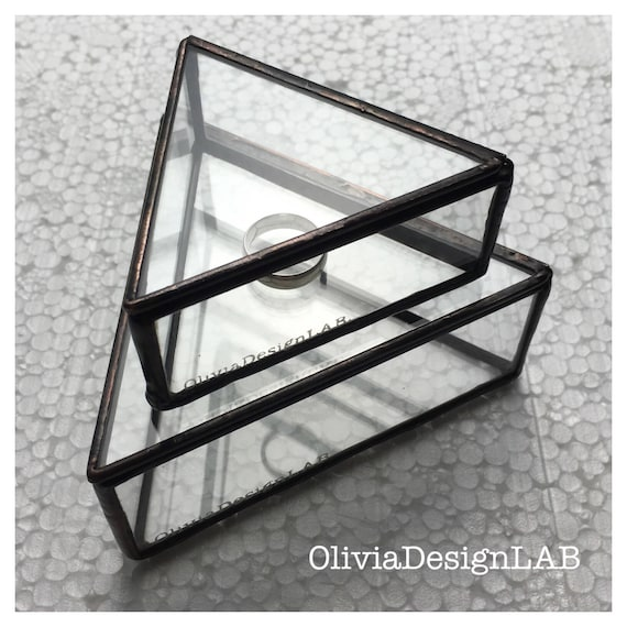 Glass box, triangular wedding glass box, jewelry display, geometric ring box, ring bearer box, glass display, ring pillow.