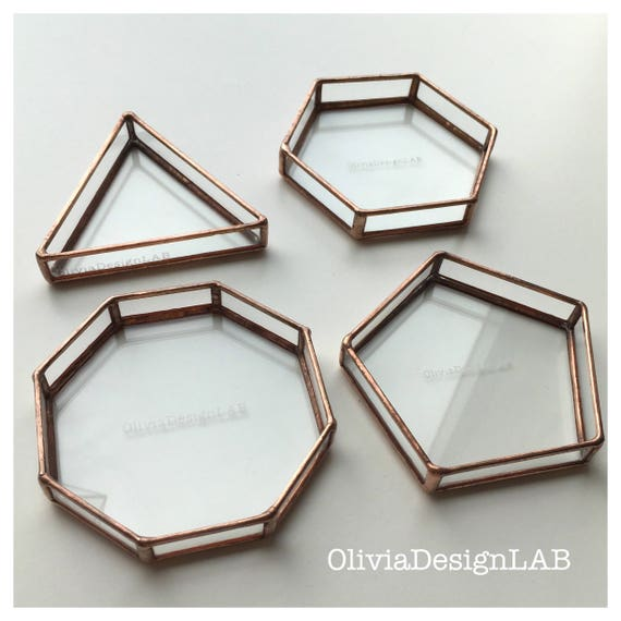 Ring dish, geometric bedside table glass tray, jewelry tray, ring copper tray, handmade glass display, ring pillow, vanity tray.