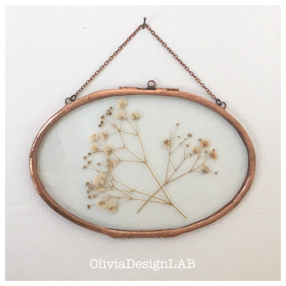 Oval frame : 4x6 and 5x8 inch floating glass frame, oval frames, dried flowers frame, picture frames, copper frame, handmade frame.