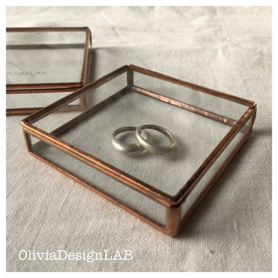 """Glass box 4 x 4"""", bridesmaid gift, glass display home decor object, ring storage trays and jewellery box."""