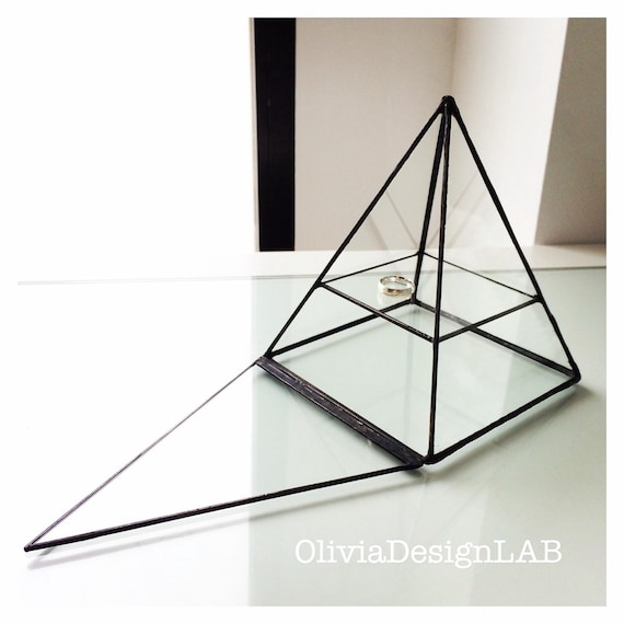 Pyramid Jewelry glass display, one shelf, stained glass geometric box, jewelry box, handmade glass display - customizable measures