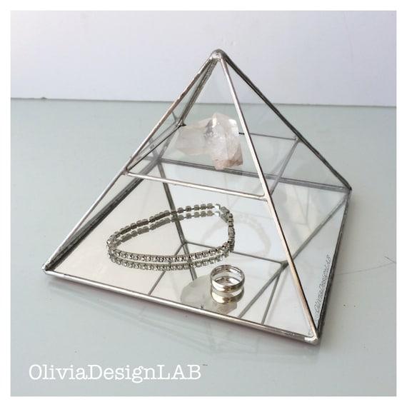 Pyramid display, Jewelry glass display pyramid one shelf, stained glass geometric box, jewelry box.