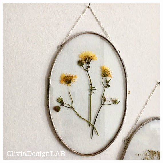 Oval frame 6x9 and 7x10 inch floating glass frame, oval frames, dried flowers frame, picture frames, copper frame.