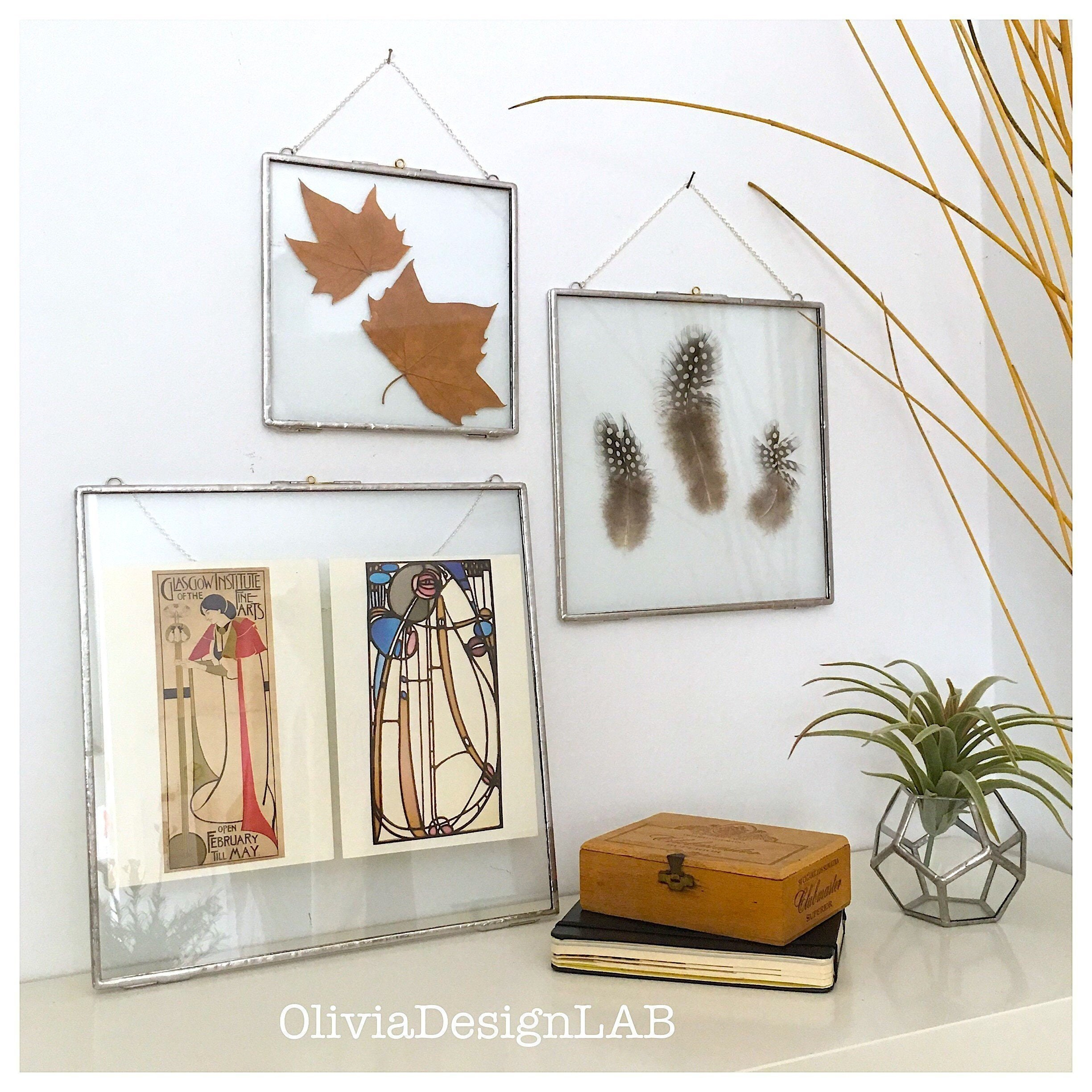 10 x 10 Glass floating frames, wall art, square glass frame for ...