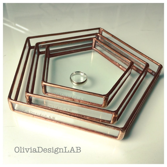 Ring dish, bedside table pentagonal glass tray, jewelry tray, ring copper tray, handmade pentagonal glass display, ring pillow, vanity tray.
