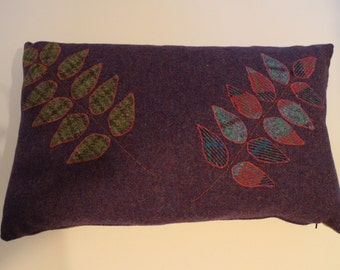 Purple Harris Tweed Cushion