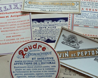 6 Different Vintage EUROPEAN CHEMIST DRUG labels from 1900s