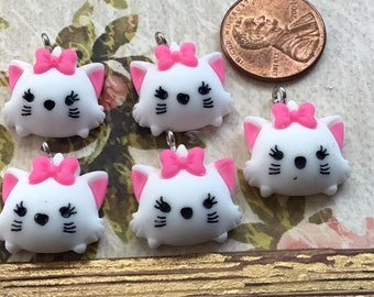 SET of 5 Adorable Aristocats Marie Enamel Metal Charms PendantEarrings Jewelry MakingDIYCharacter Charms