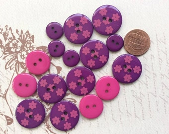 SET of 16 Purple and Hot Pink 2 hole sewing buttons